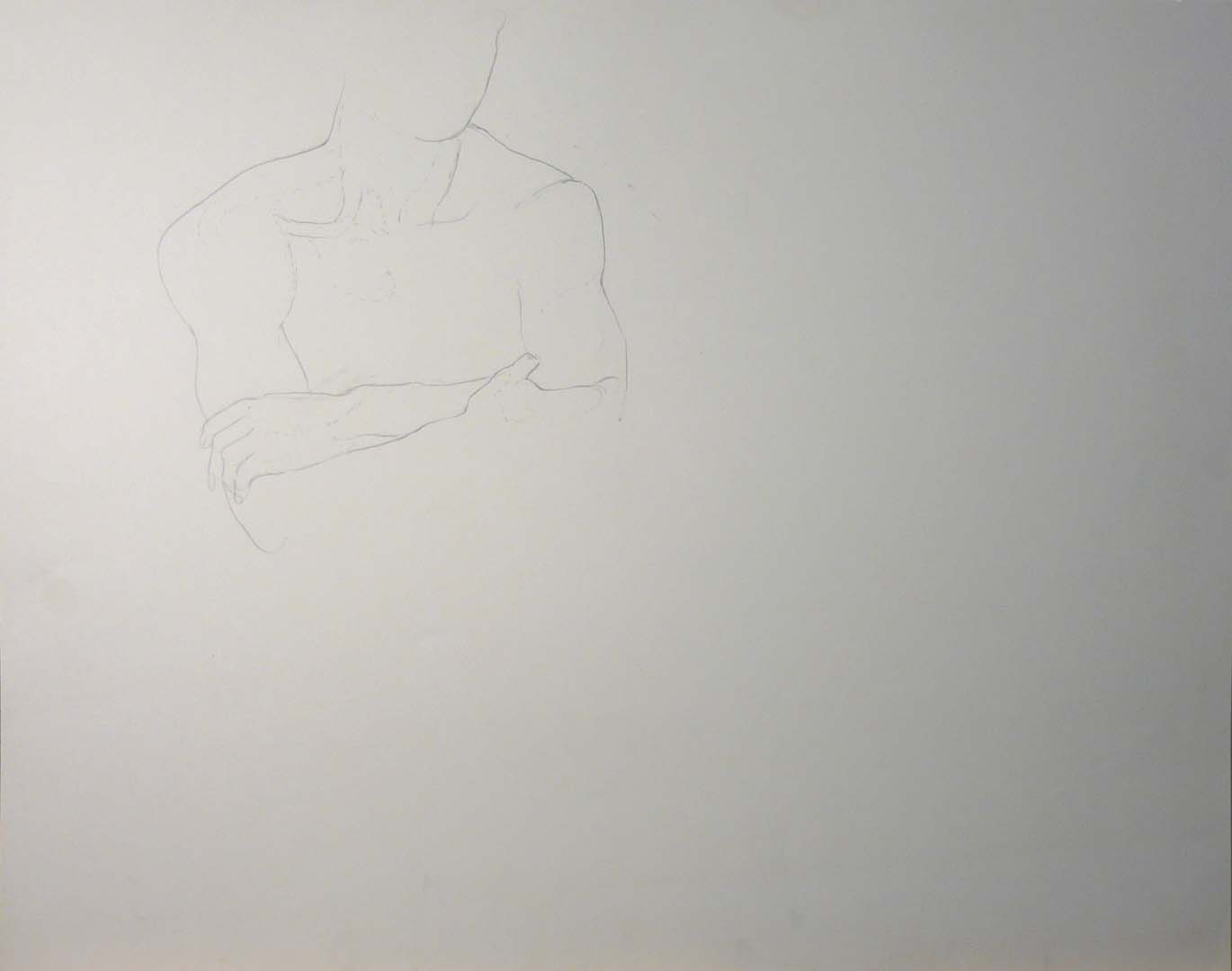 Male with Crosed Arms Pencil 18.875 x 22.875