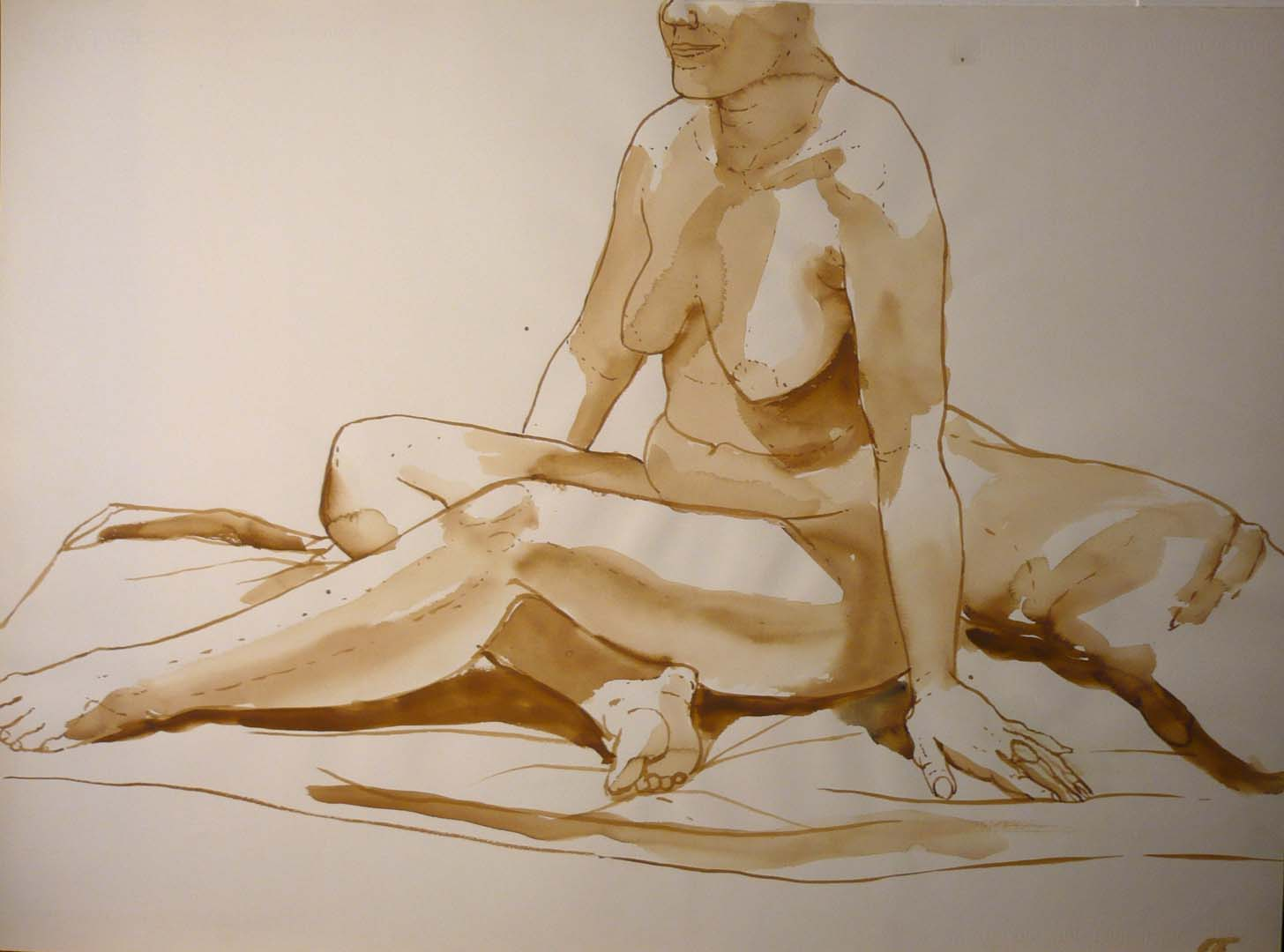 "Model Seated in Studio Sepia 22"" x 29.875"""