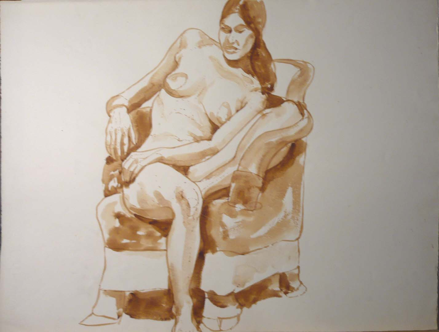 "Nude with Bent Leg Seated on Chair Sepia 20.75"" x 27.375"""