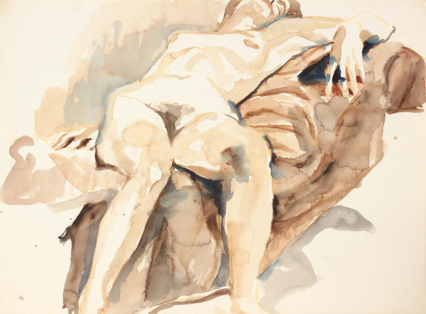 Reclined Female on Sofa Watercolor