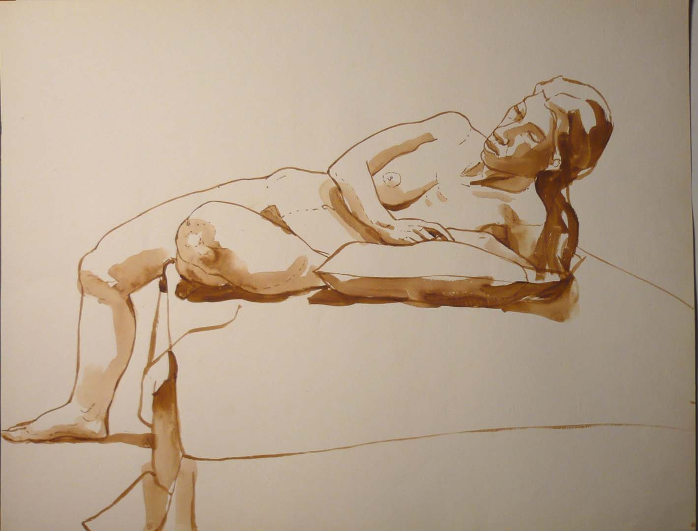 "Reclined Female Model with Pillow Sepia 20"" x 25.875"""