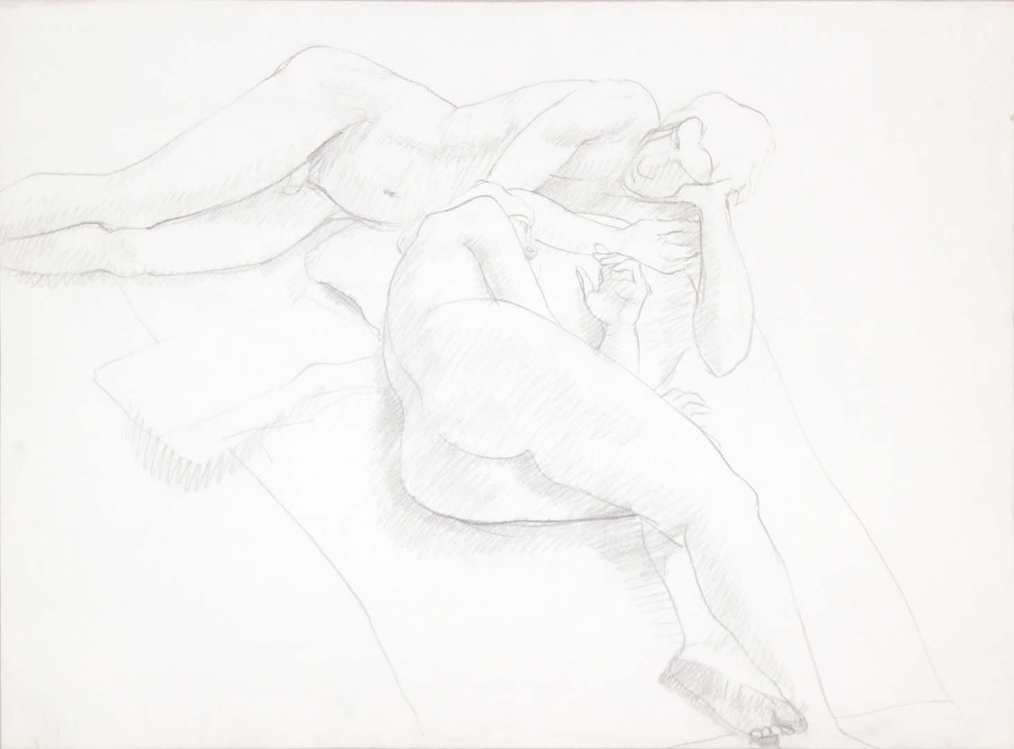 "Reclined Female and Male Nudes Graphite 22.125"" x 29.875"""