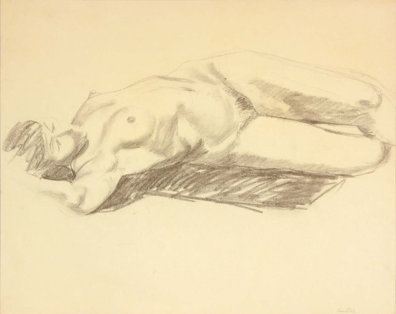 "Reclined Model with Arm Over Head Graphite 19"" x 24"""