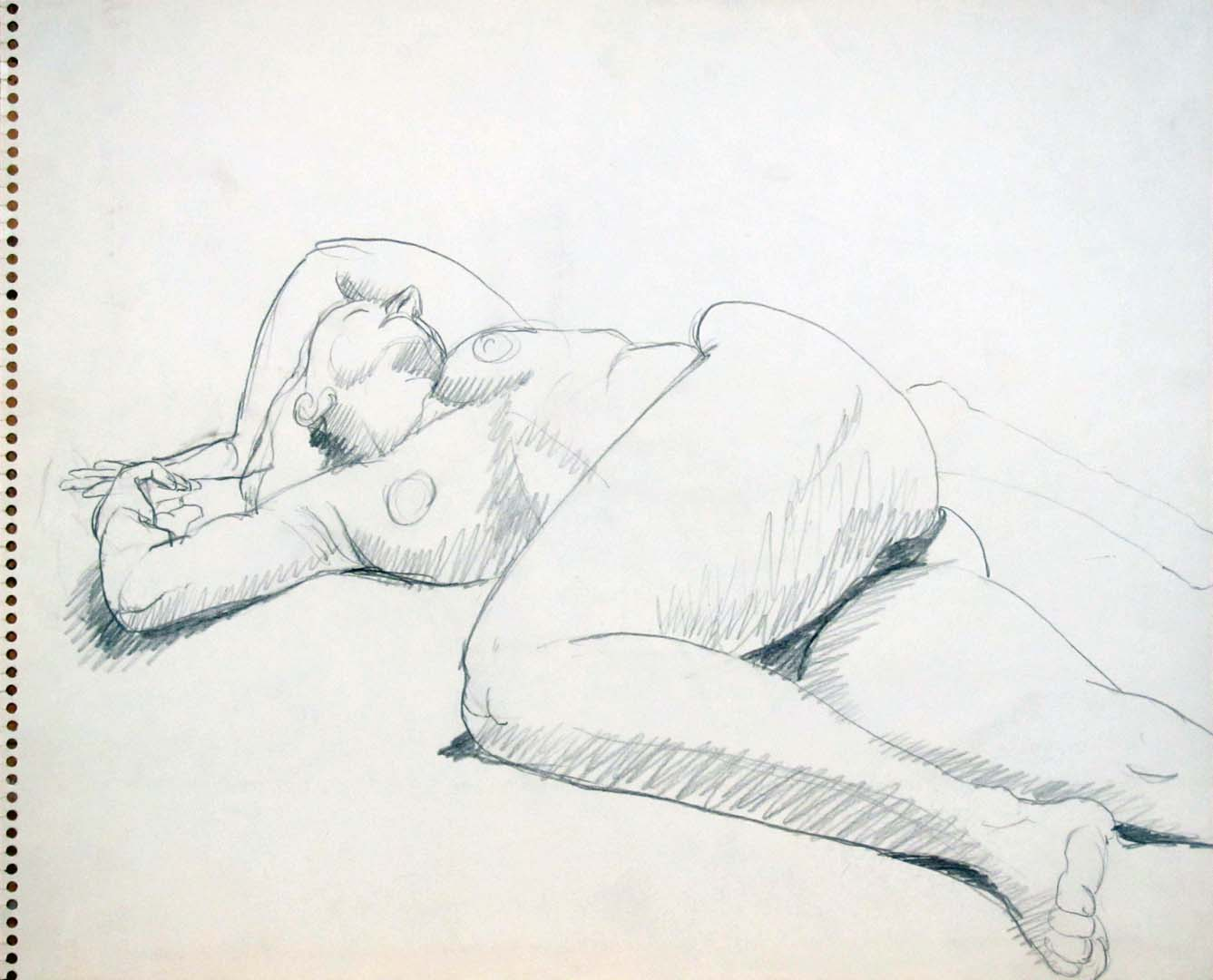 "Reclined Nude with Arms Over Head Pencil 13.75"" x 17"""