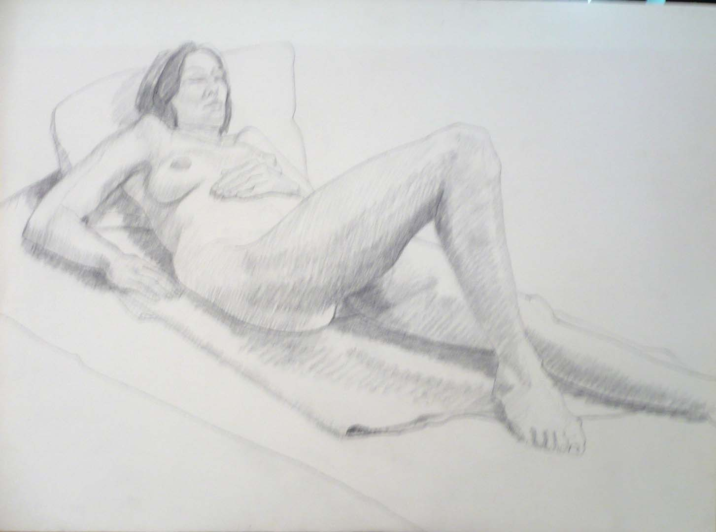 "Reclining Female Model Graphite 22.125"" x 30"""