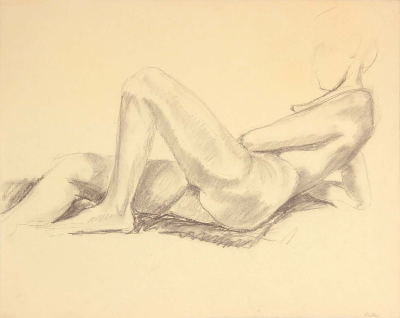 "Reclining Female Nude Graphite 19"" x 24"""