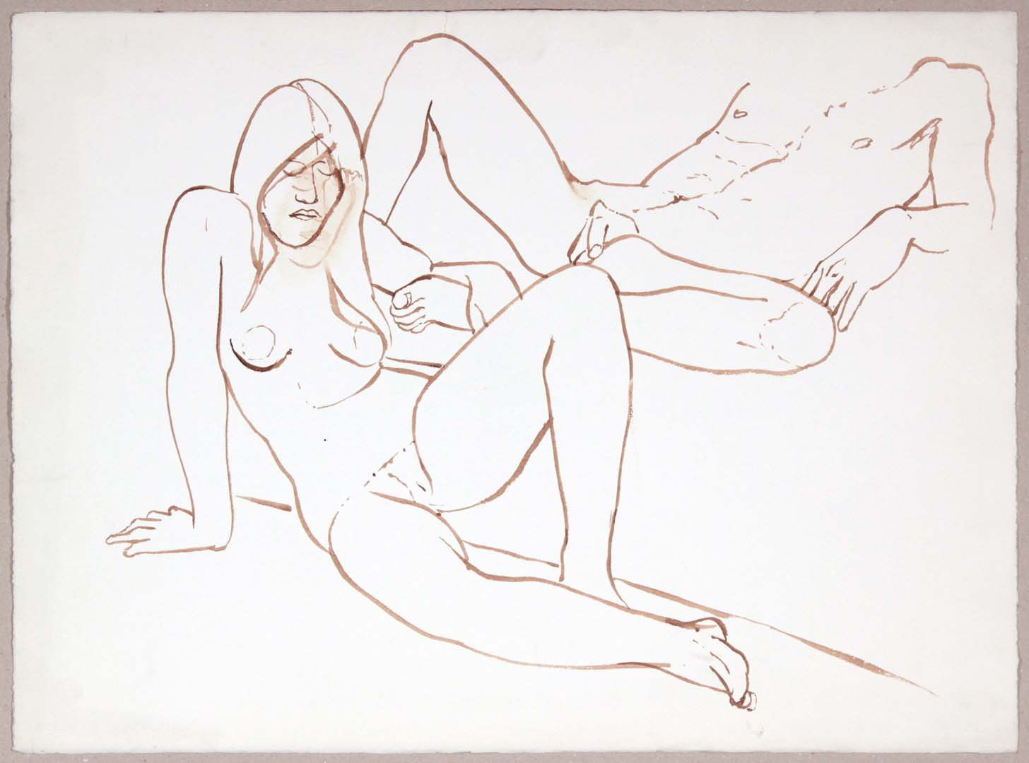 "Reclining Female and Male Nudes Wash 22.375"" x 30"""