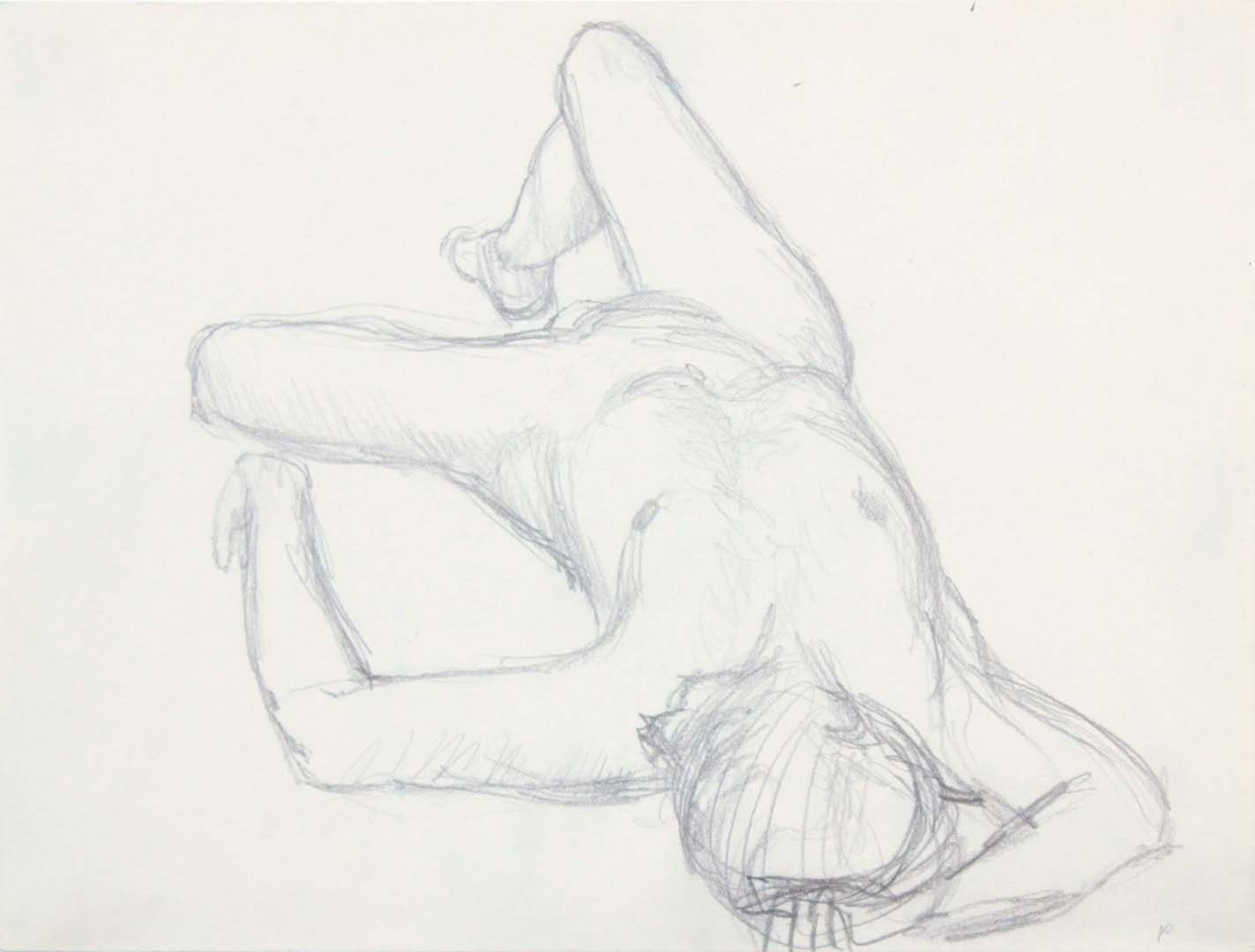 Reclining Nude with Arm Over Head Pencil 9 x 12