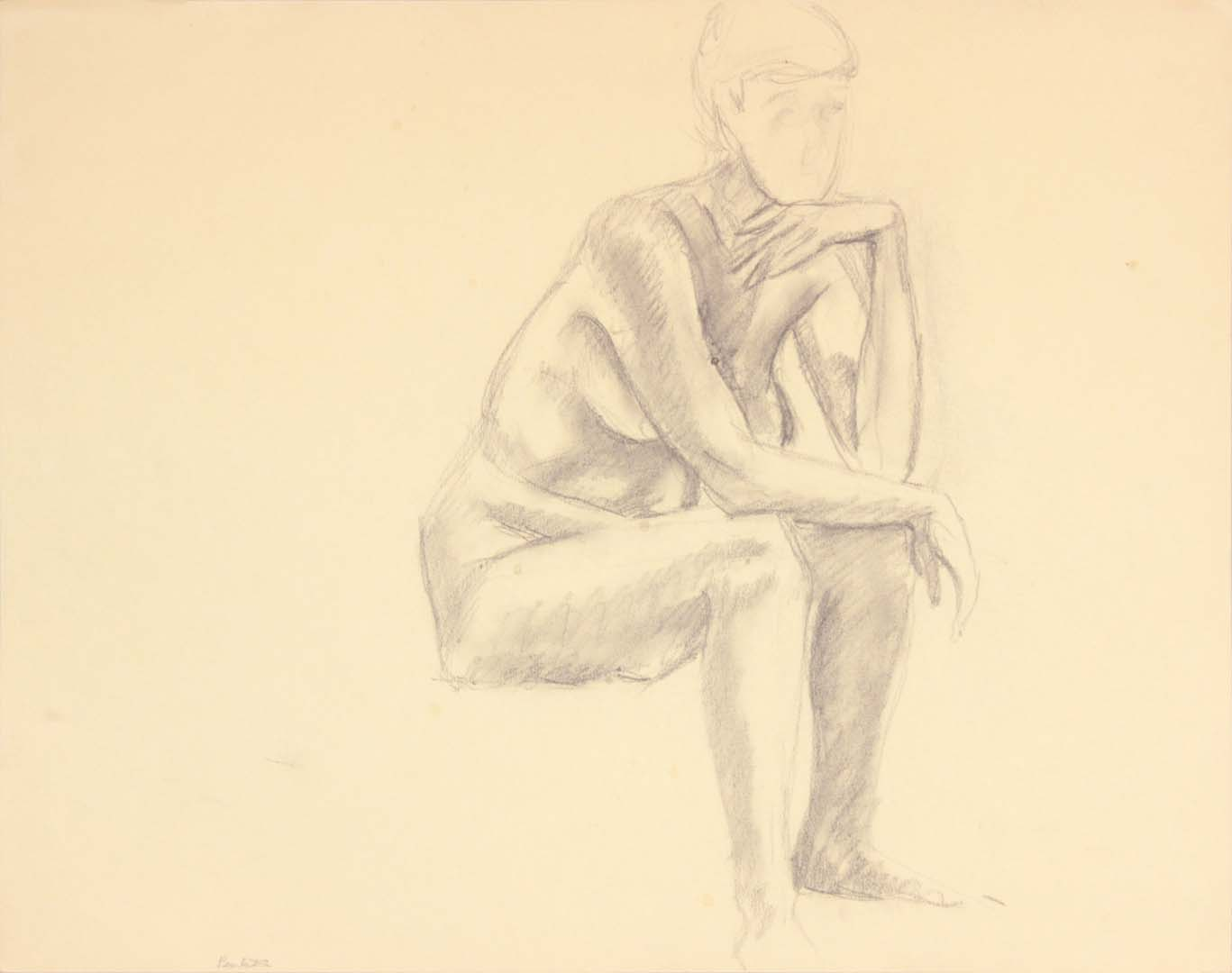 "Seated Female Leaning Forward Graphite 19"" x 24"""