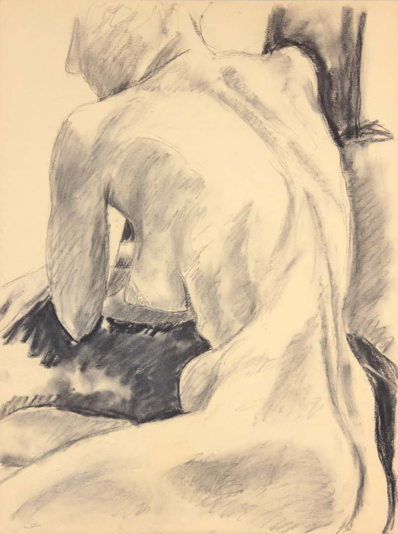 "Seated Female Model Graphite 24"" x 17.875"""
