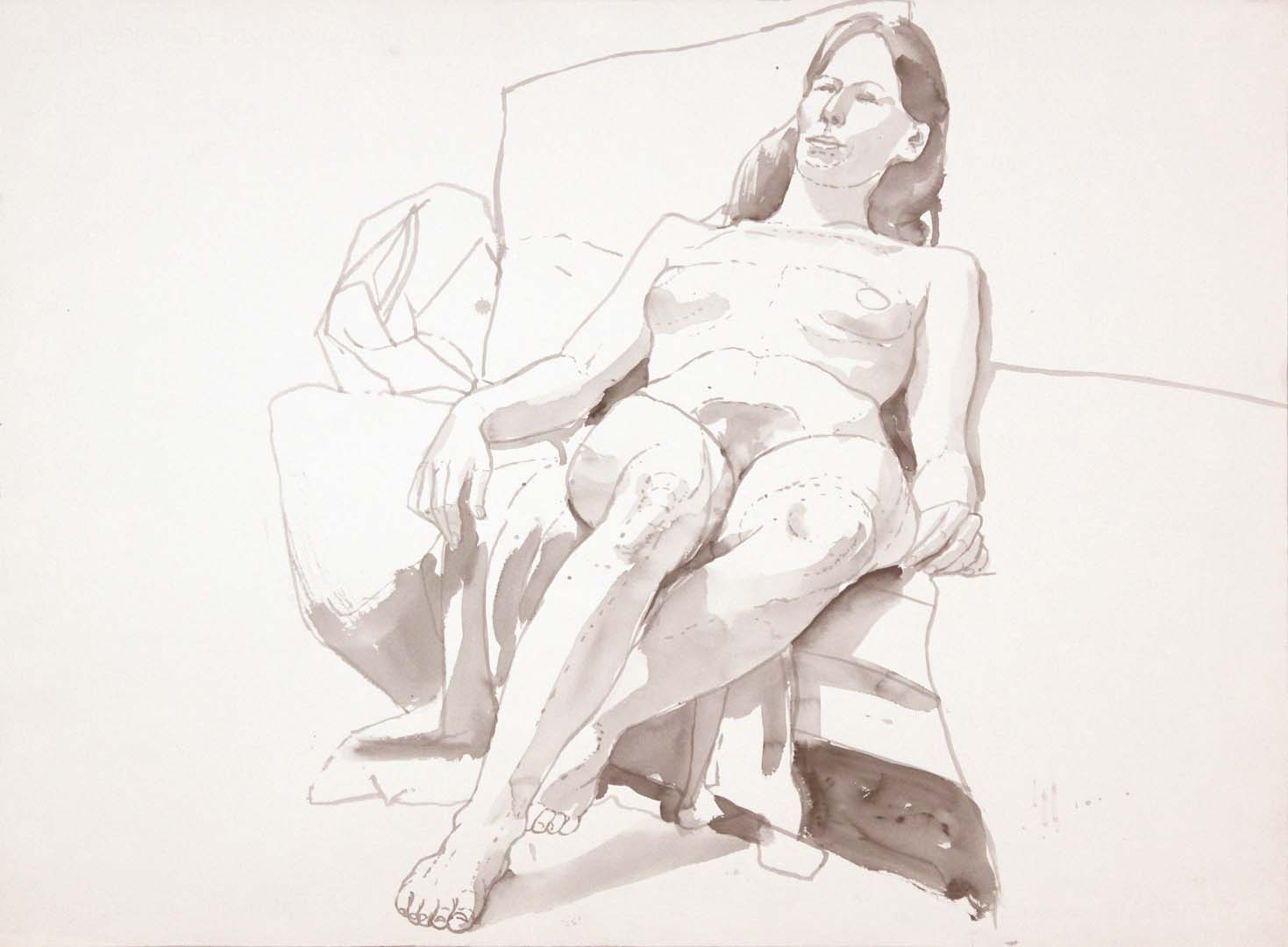 Seated Female Model Leaning Back Wash 22.125 x 29.875