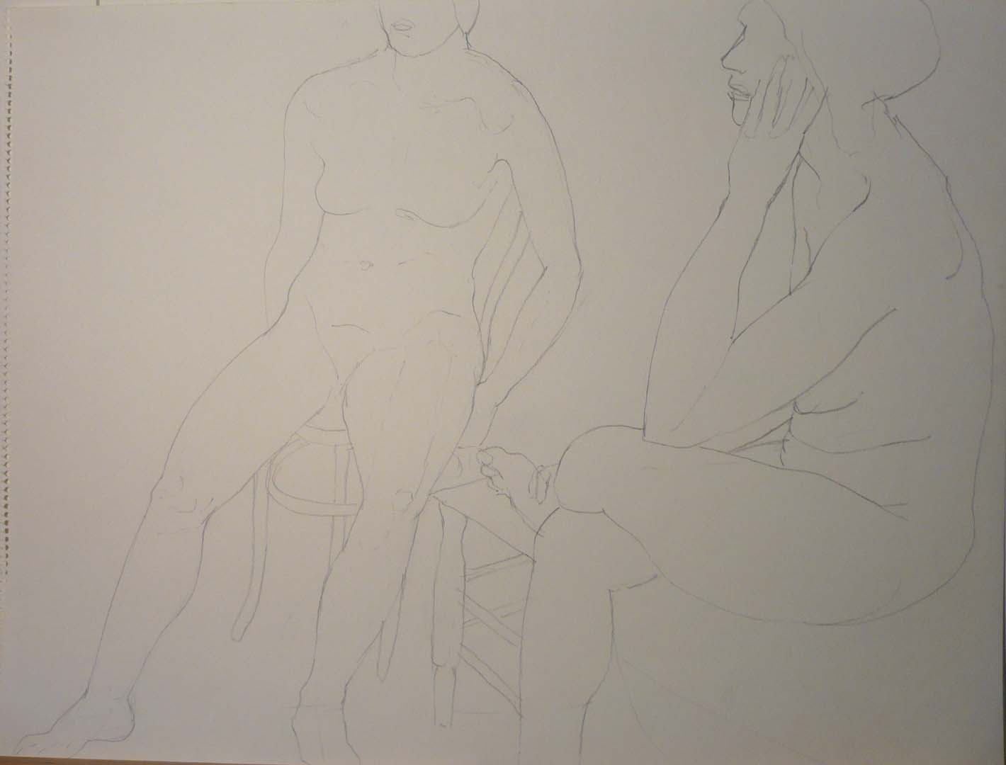 "Seated Female Models Pencil 18"" x 24"""