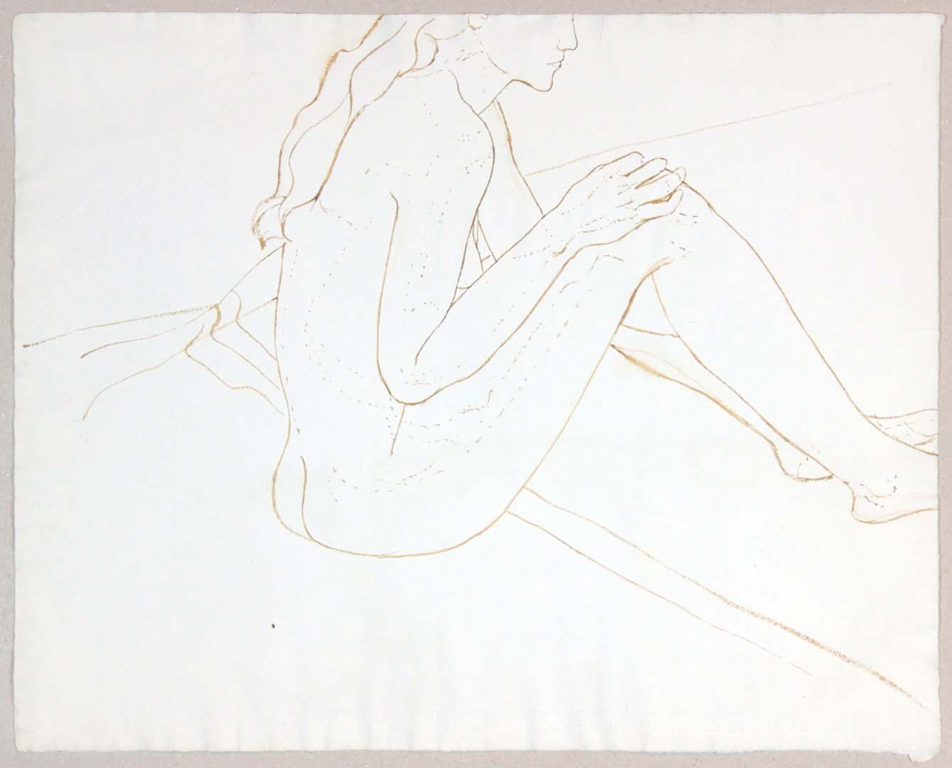 "Seated Female Nude Wash 19"" x 23.875"""