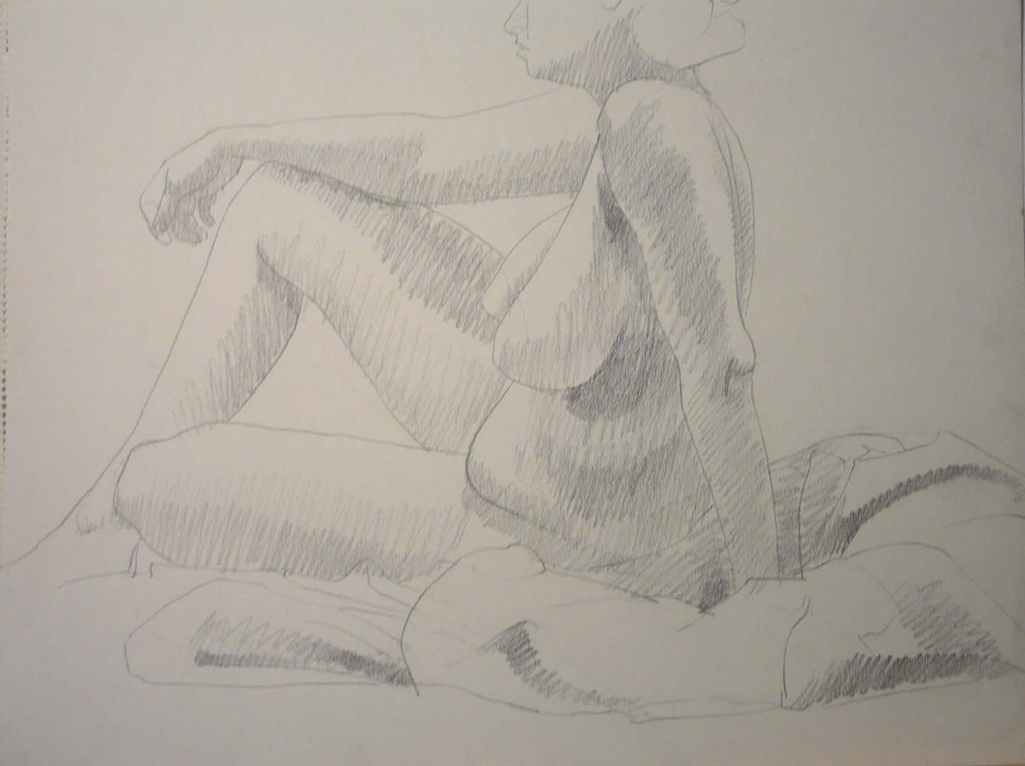 "Seated Female Nude Pencil 18"" x 24"""