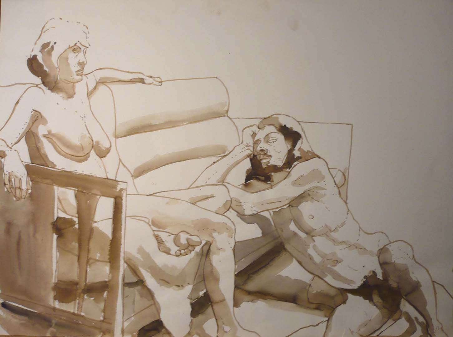 Seated Female Nude and Male Nude Leaning on Couch Sepia 22 x 29.875