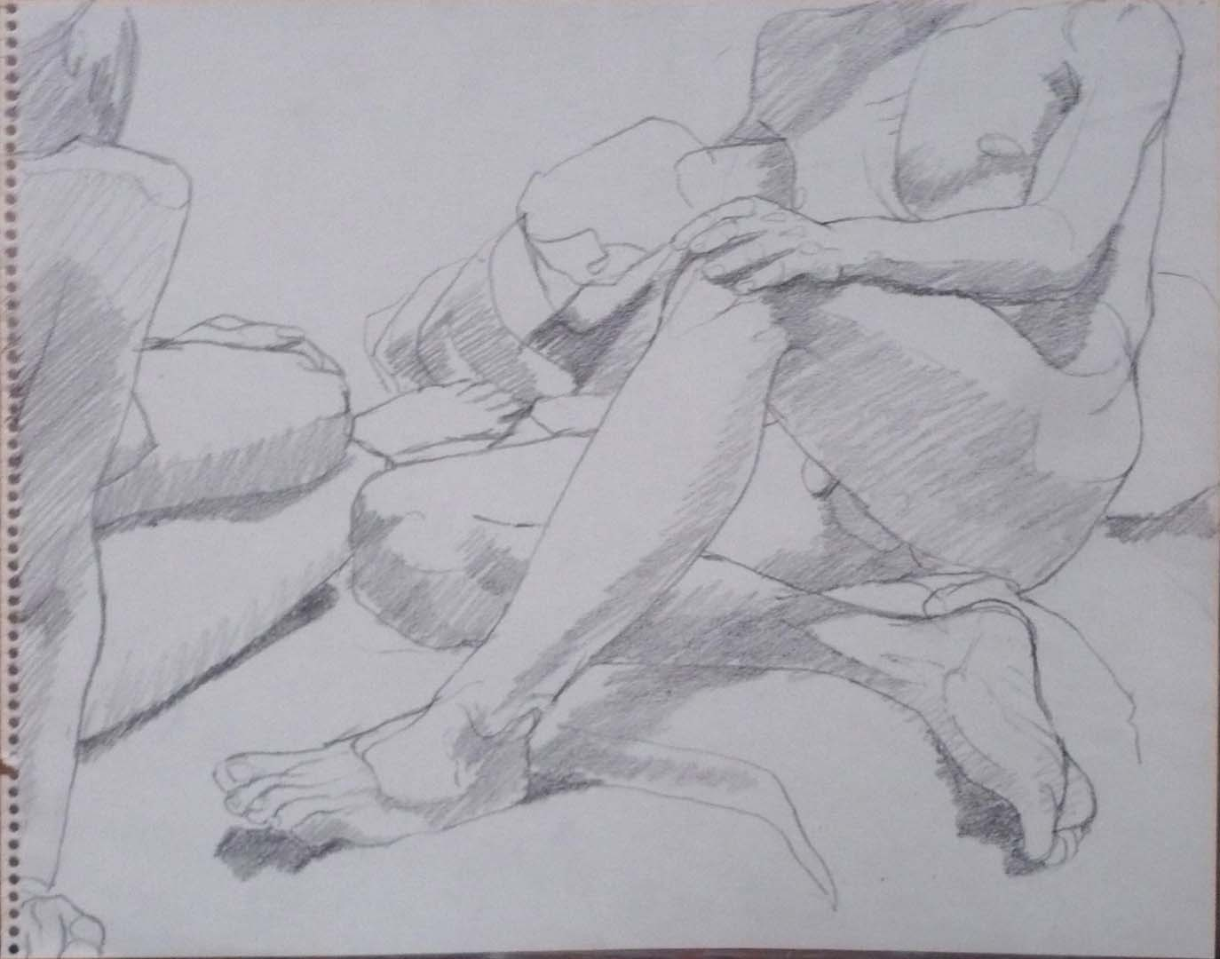 "Seated Female and Male Nudes Pencil 11"" x 14"""