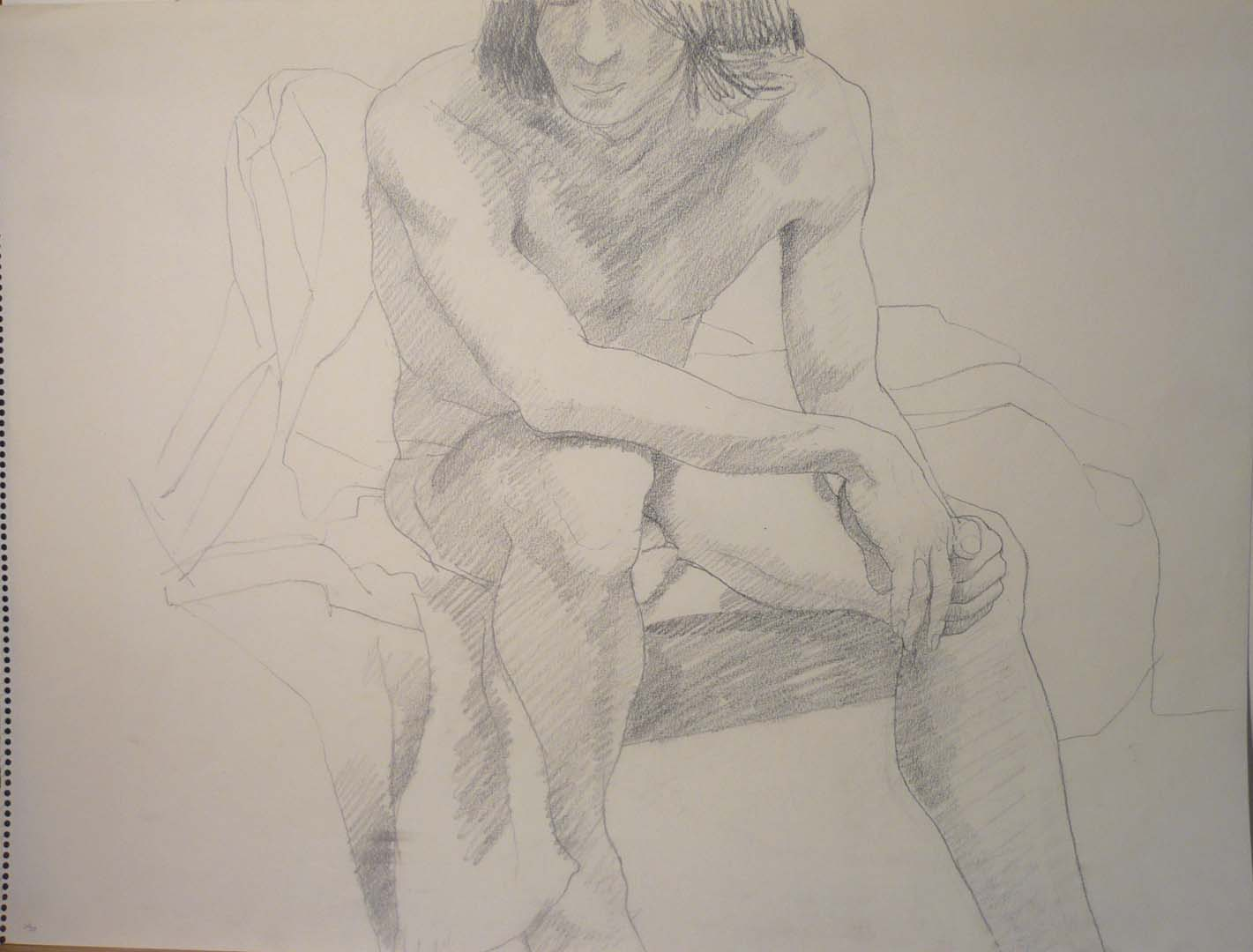 "Seated Male Model Pencil 18"" x 24"""
