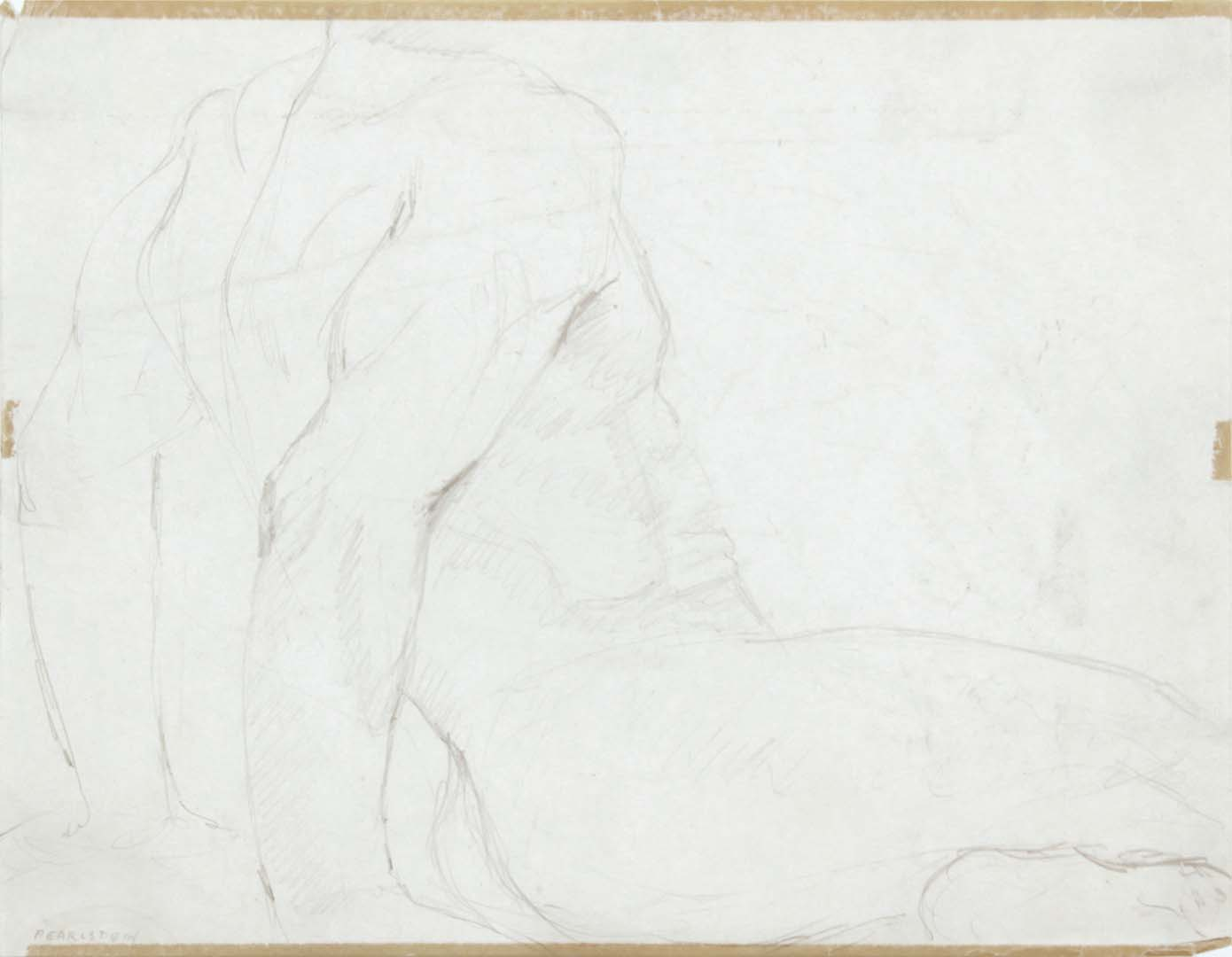 "Seated Male Model Leaning Backwards Pencil 8.375"" x 10.875"""