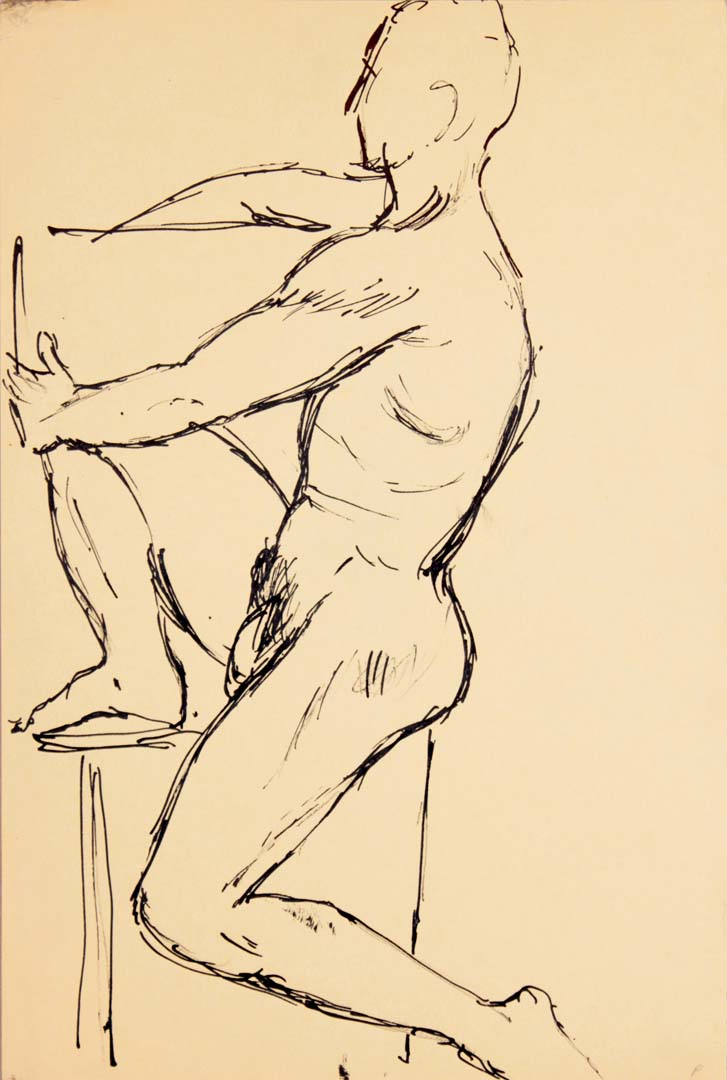 "Seated Male Model with One Leg Raised Ink 17.875"" x 12"""
