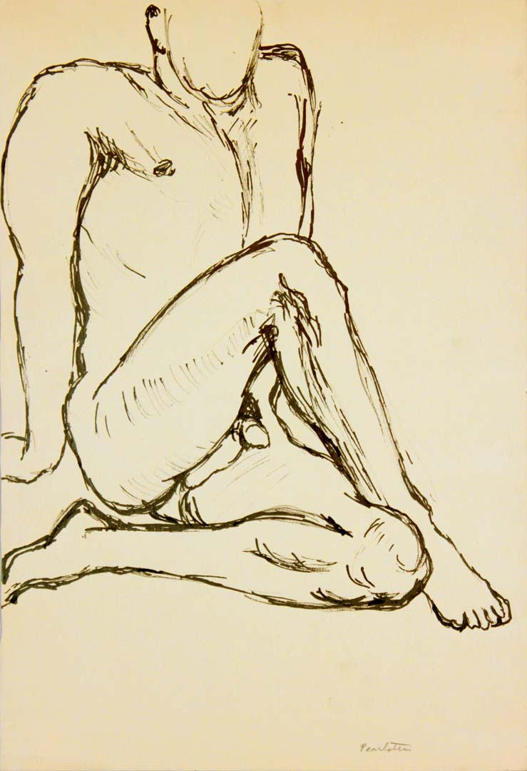 Seated Male Nude Ink 17.875 x 12.125