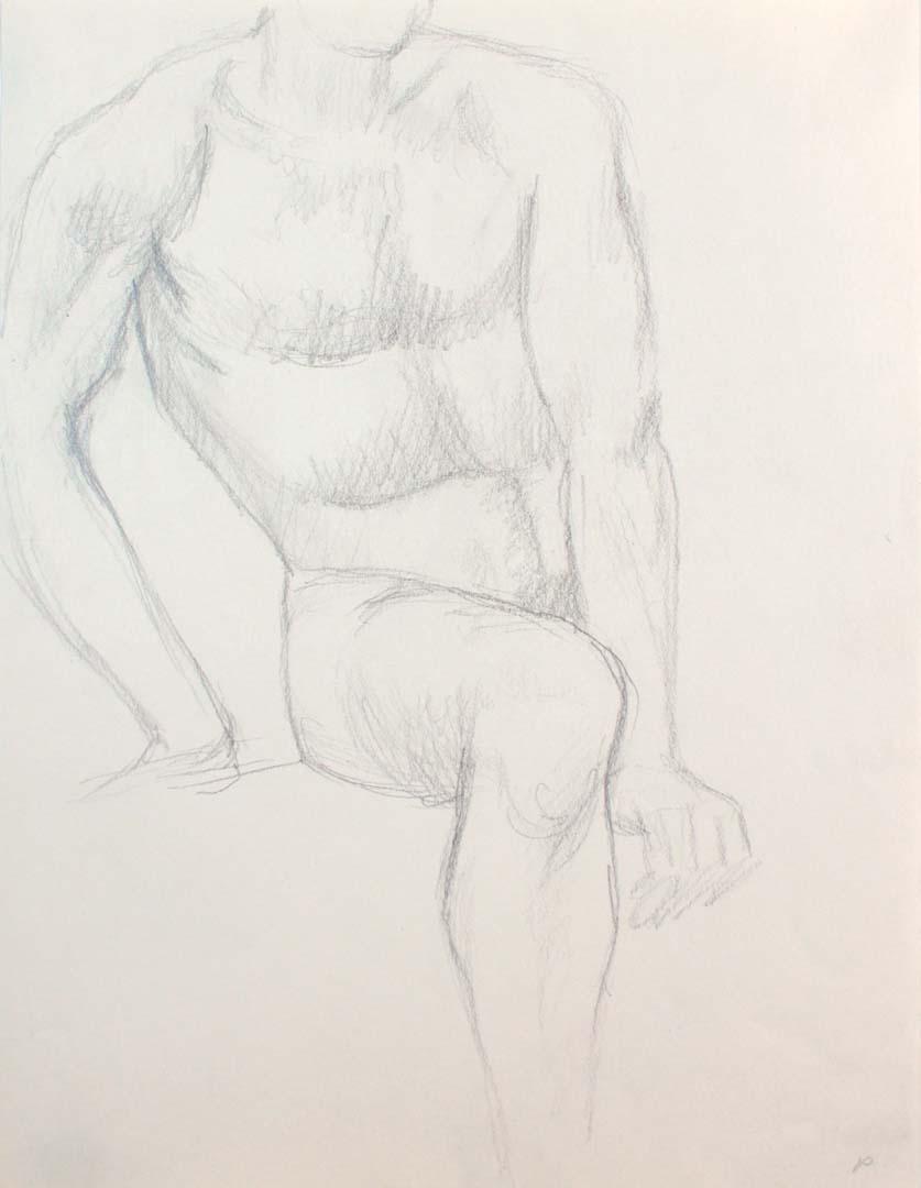 "Seated Male Nude Pencil 12"" x 9"""