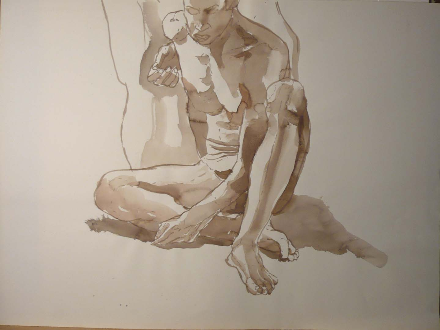 Seated Male Nude Leaning Against Chair Sepia 22 x 29.875