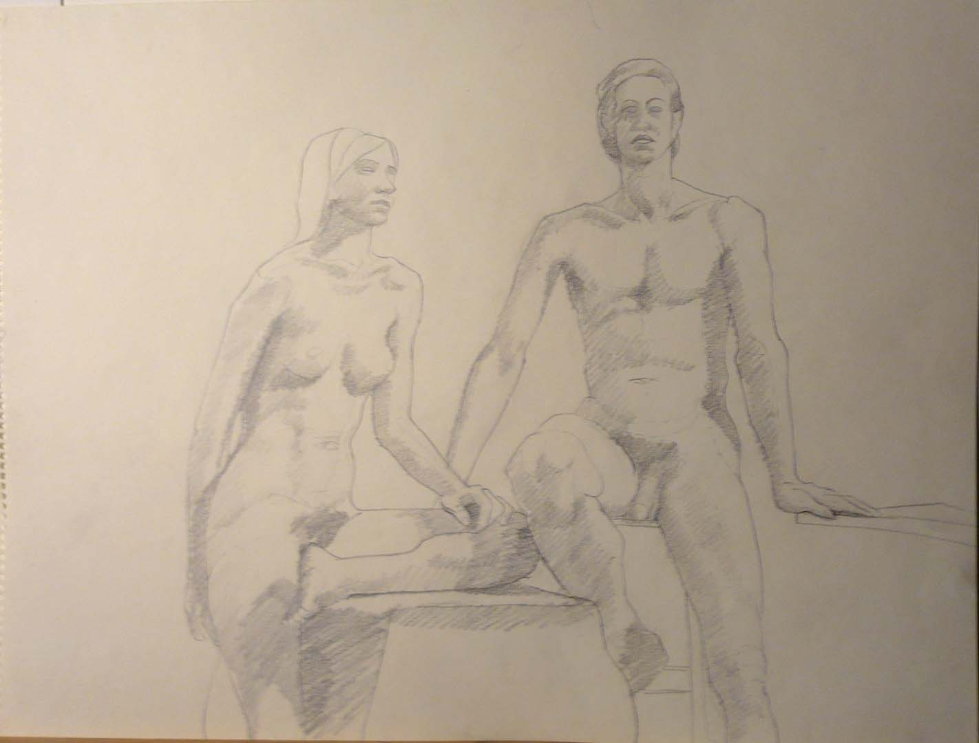 "Seated Male and Female Models Sepia 17.875"" x 23.875"""