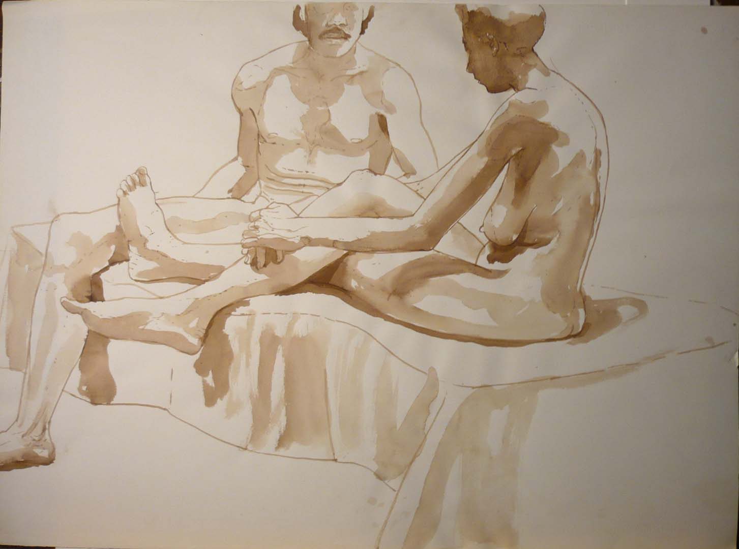 "Seated Male and Female Nudes Sepia 22"" x 29.875"""