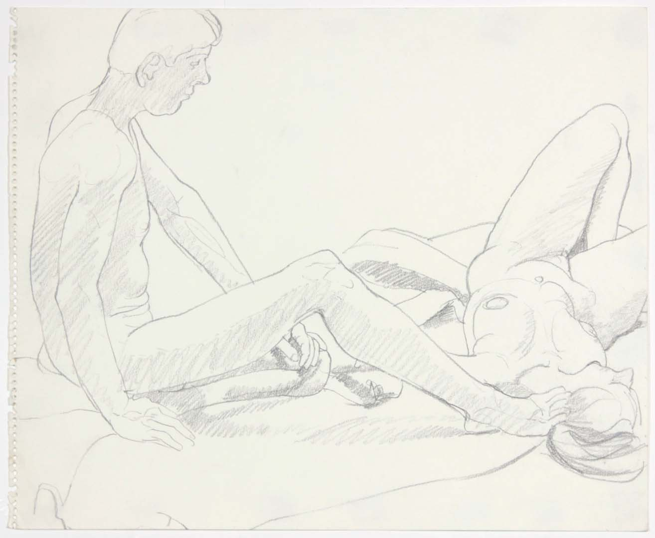 "Seated Male and Female Reclined Pencil 14"" x 17"""