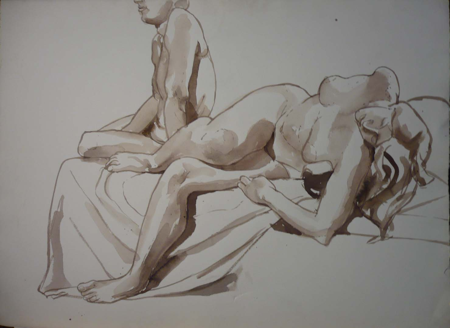 "Seated Male and Reclining Female Sepia 22.25"" x 29.875"""