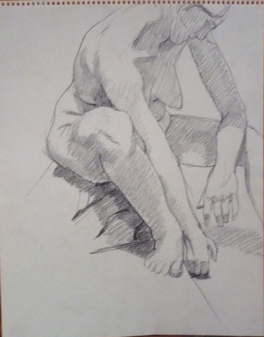 "Seated Model Leaning Forward Pencil 14"" x 11"""