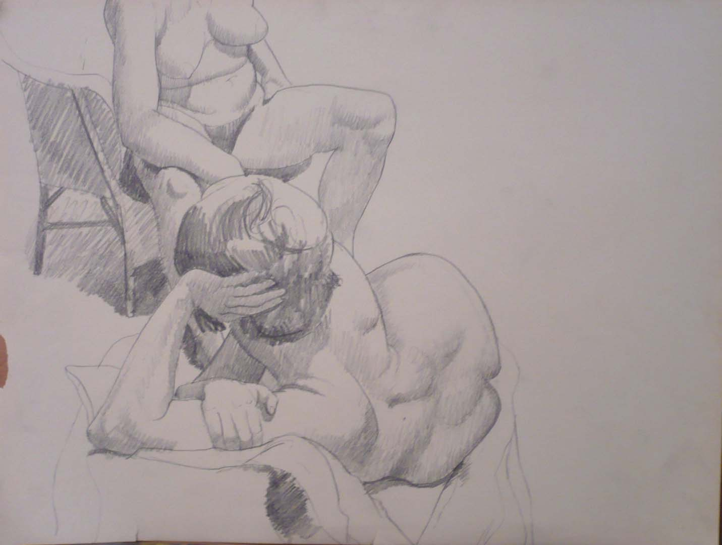 "Seated Model and Reclining Model Pencil 16.375"" x 21.625"""