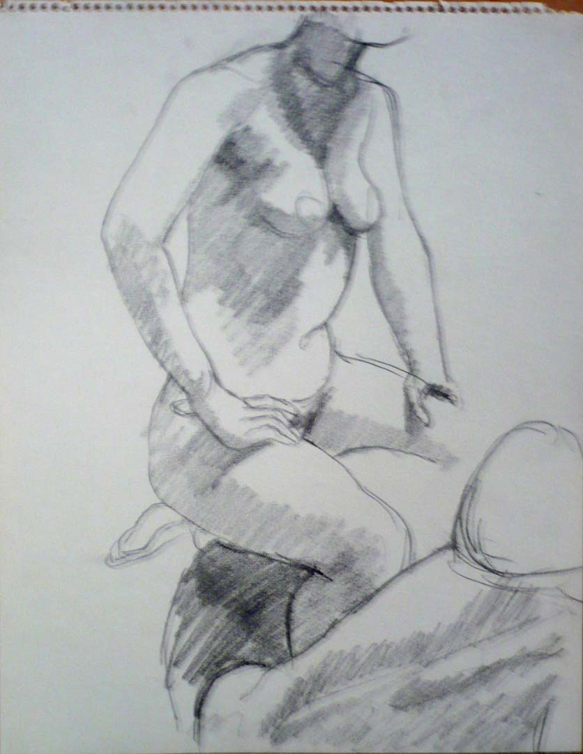 "Seated Models Pencil 14"" x 11"""