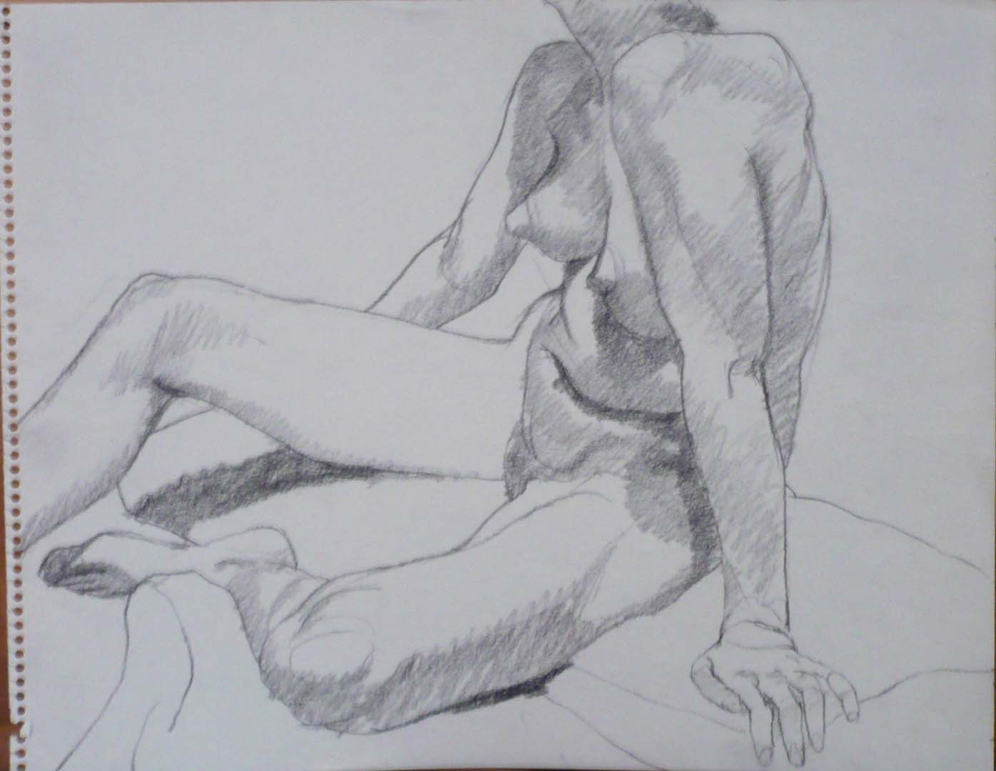 "Seated Model with Right Leg Extended Pencil 11"" x 14"""