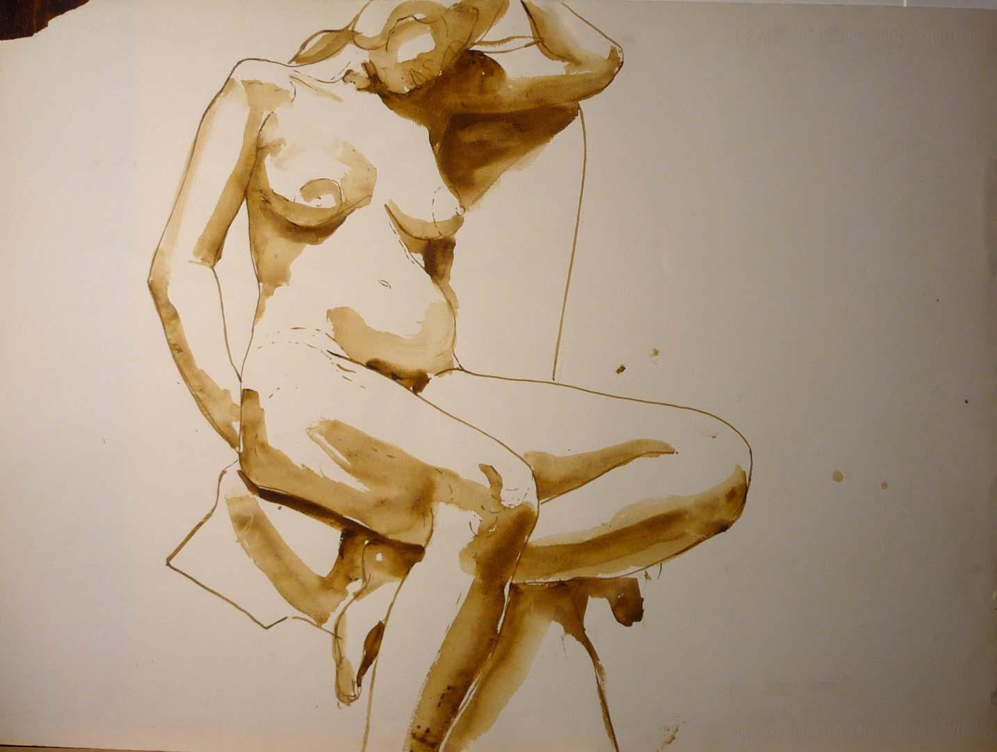 Seated Nude Sepia 22 x 29.875