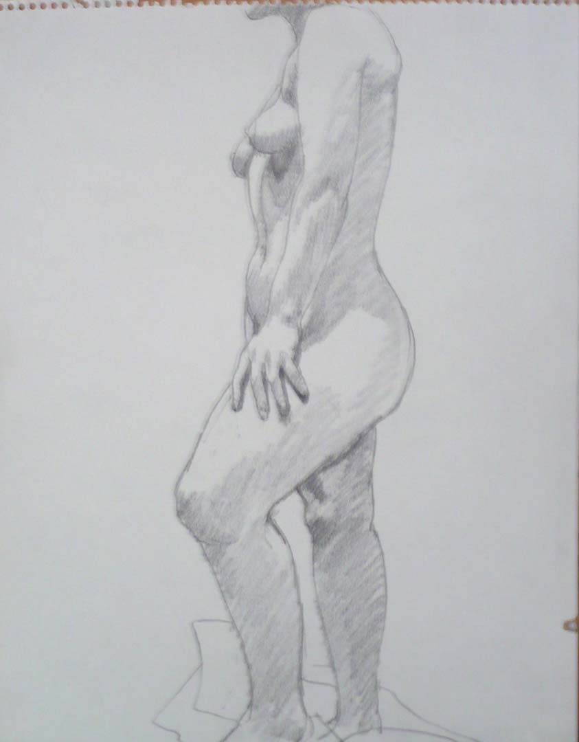 """Side of Standing Female Model Pencil 14"""" x 11"""""""
