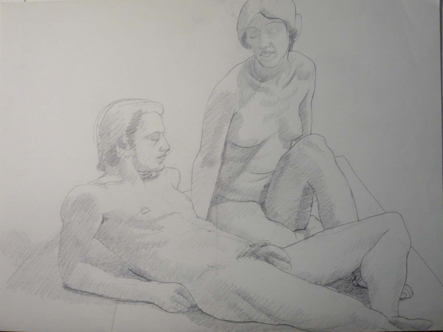 "Sitting Female and Reclining Male Nude Pencil 18"" x 24"""