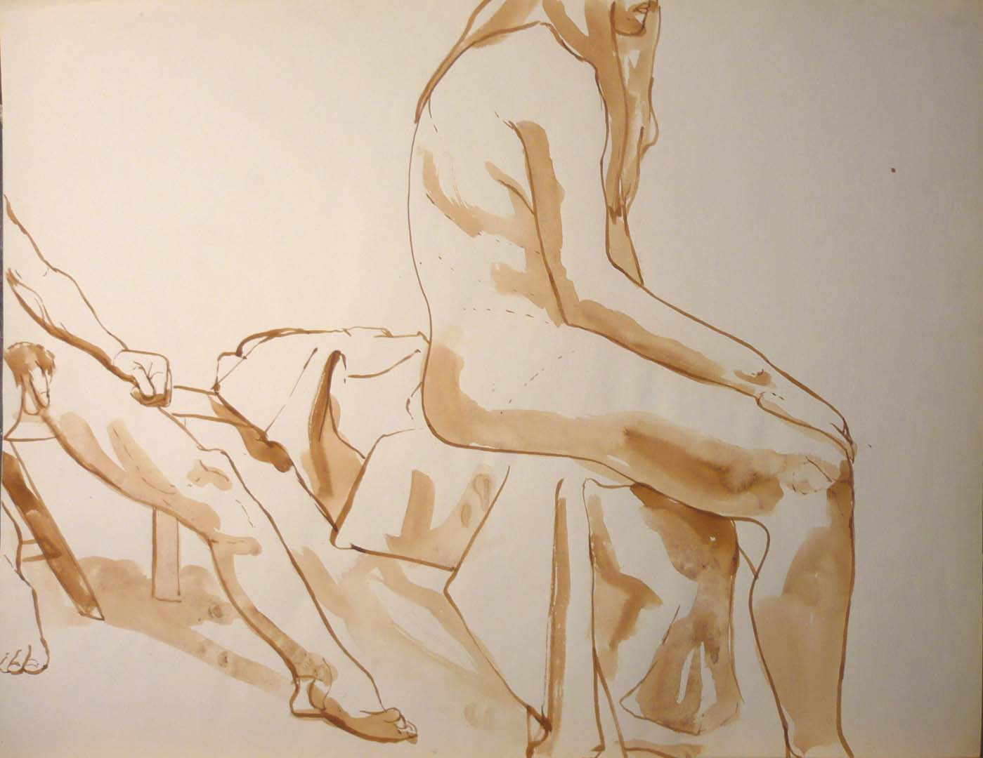 "Sitting Male and Female Models Sepia 19.875"" x 25.75"""