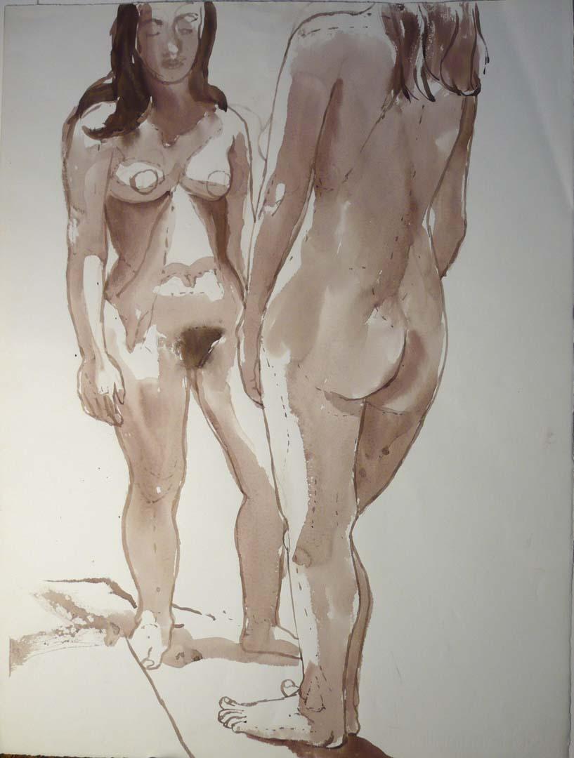 Standing Female Models in Studio Sepia 27.25 x 20.5