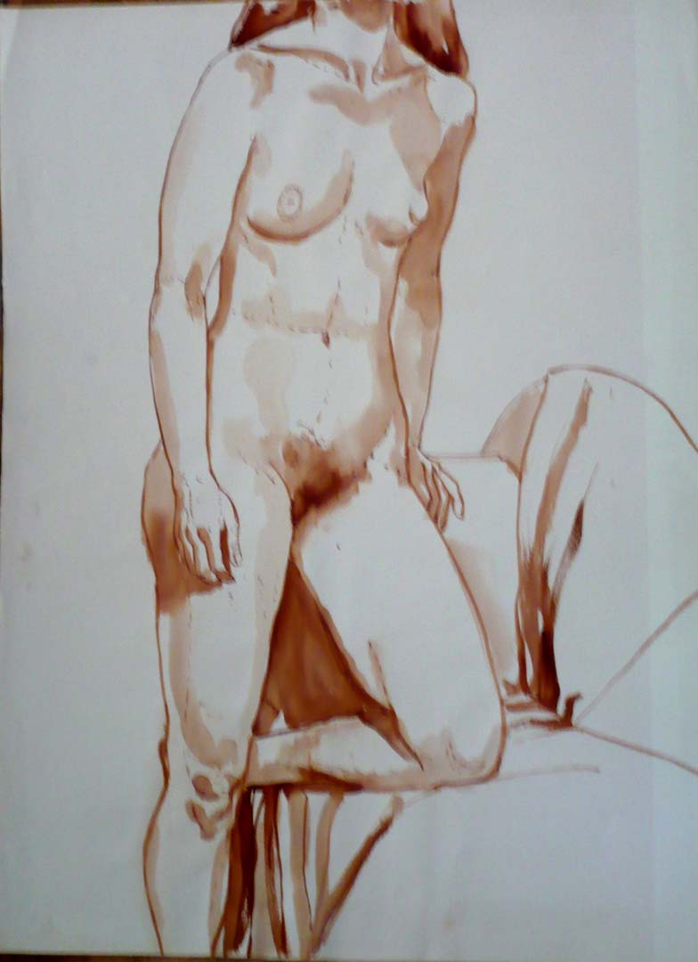 "Standing Female Model with Left Leg Resting on Sofa Sepia 29.875"" x 22"""