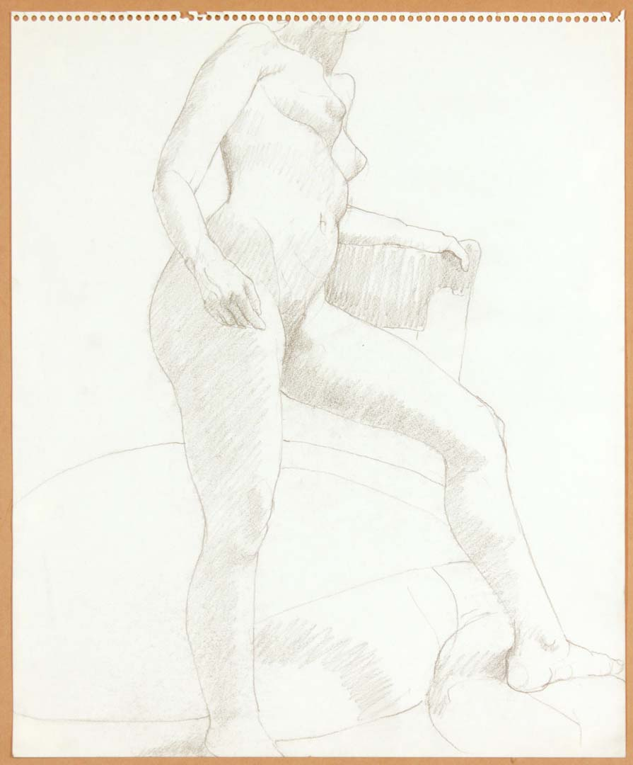 "Standing Female Nude with Leg Outstretched Pencil 17"" x 14"""