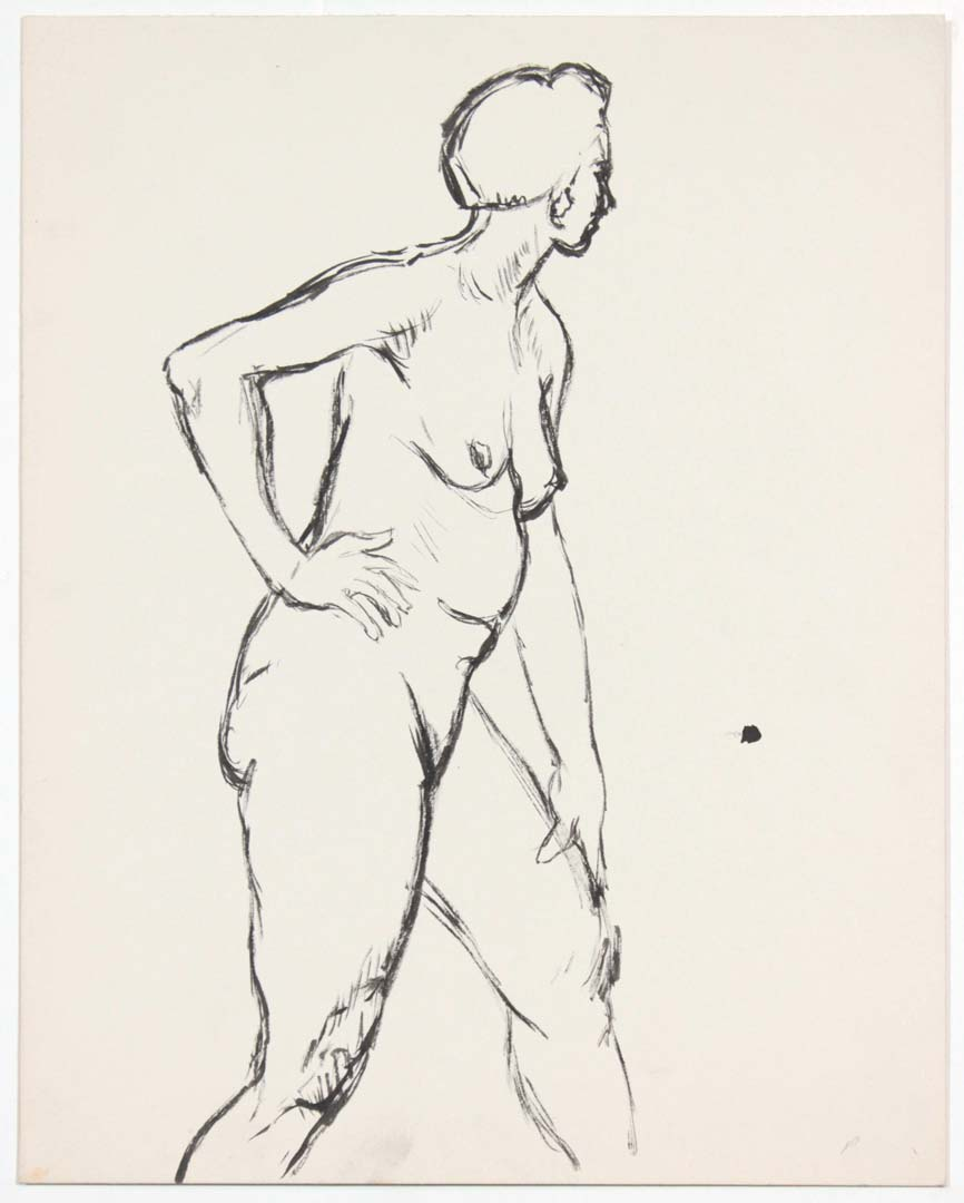 "Standing Female Nude with Right Hand on Hip Ink 13.875"" x 10.875"""