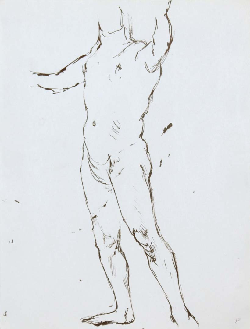 "Standing Male Nude Ink 12"" x 9"""