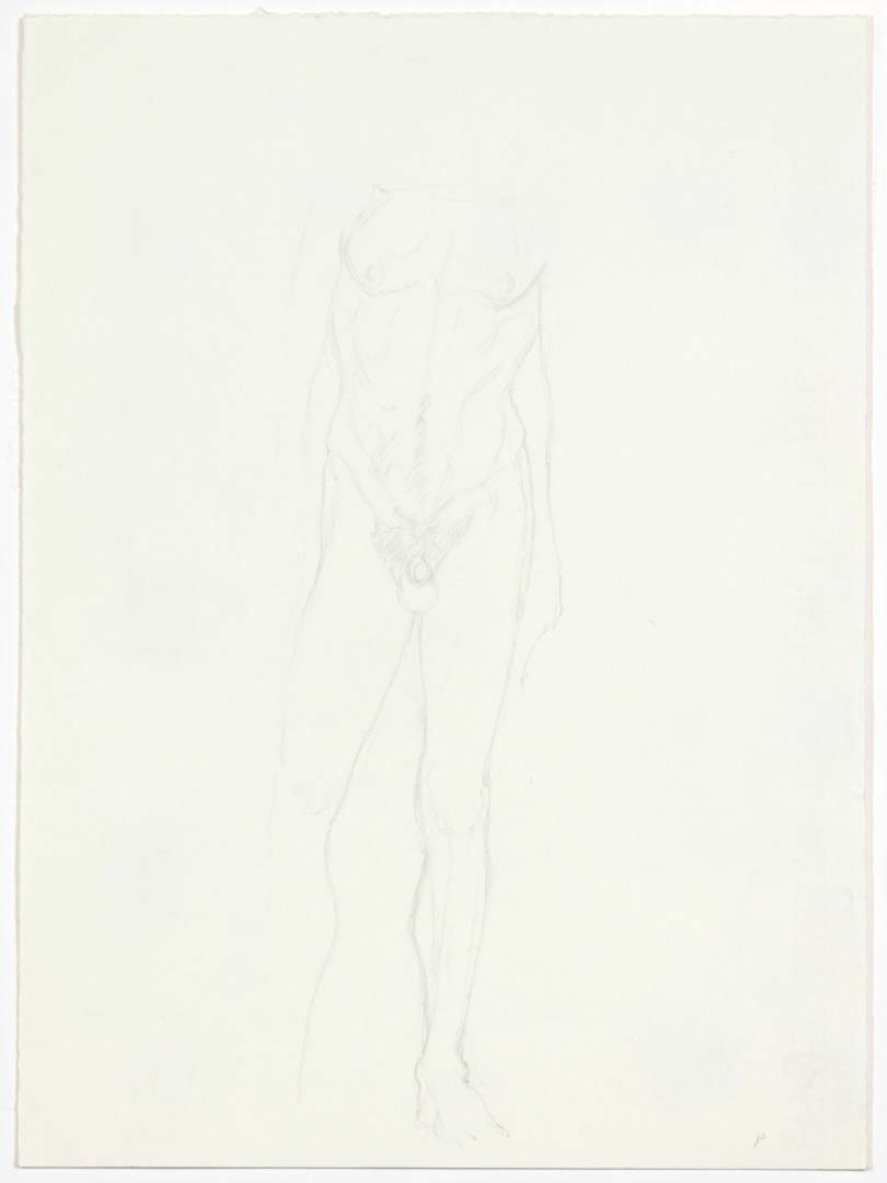 "Standing Male Nude Pencil 13"" x 9.5"""