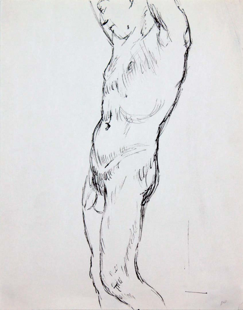 """Standing Male Nude #2 Ink 12"""" x 9"""""""