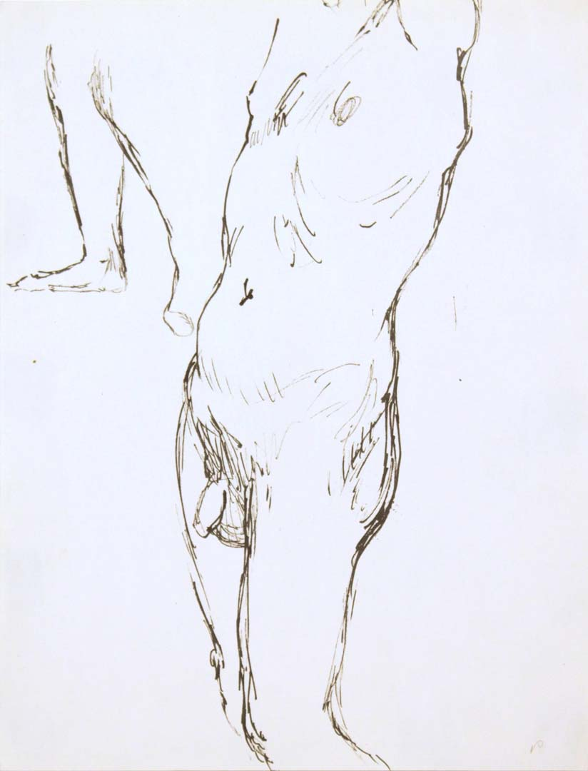 "Standing Male Nude #3 Ink 12"" x 9"""