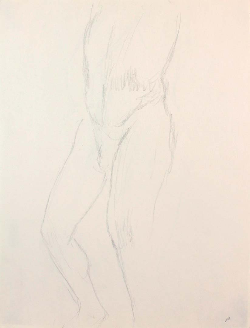 "Standing Male Nude Leg Bent Pencil 12"" x 9"""