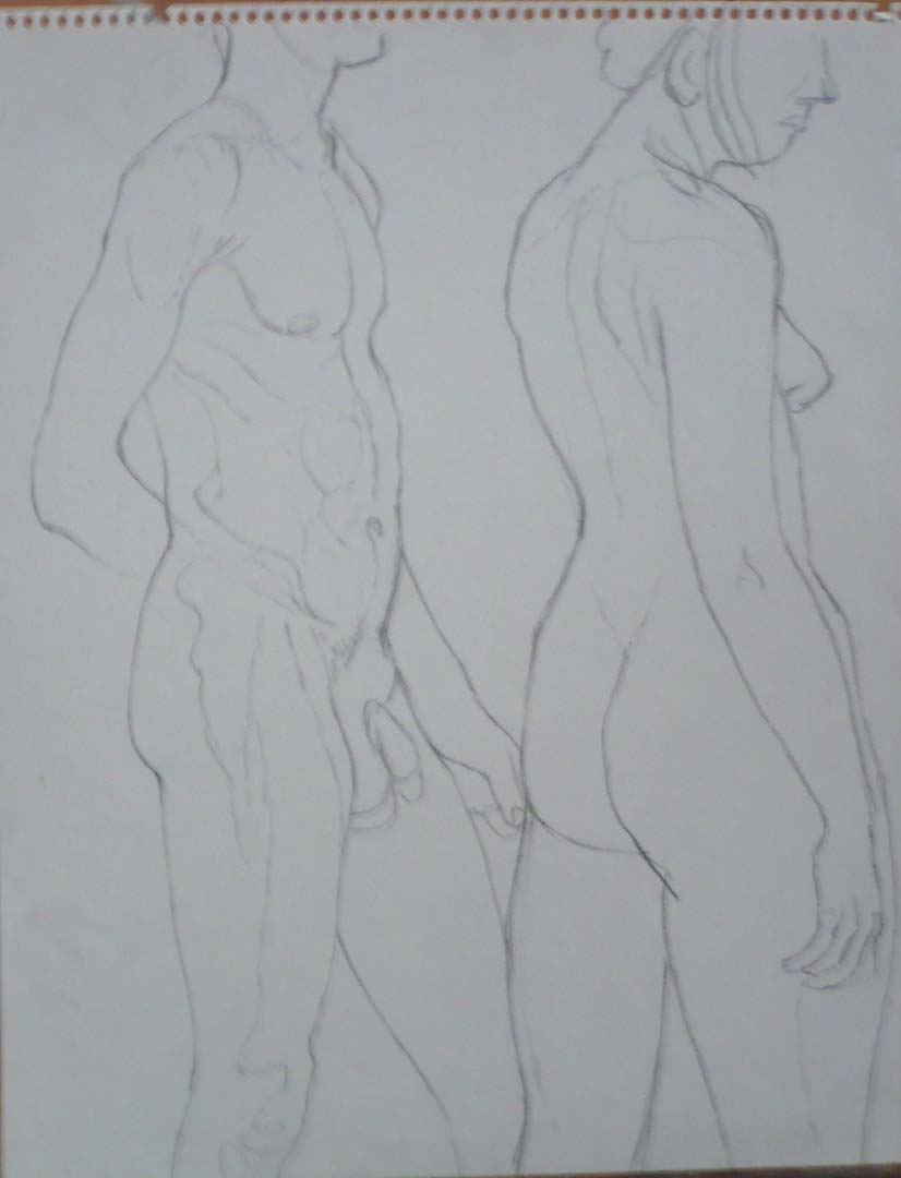 "Standing Male and Female Models Pencil 14"" x 11"""