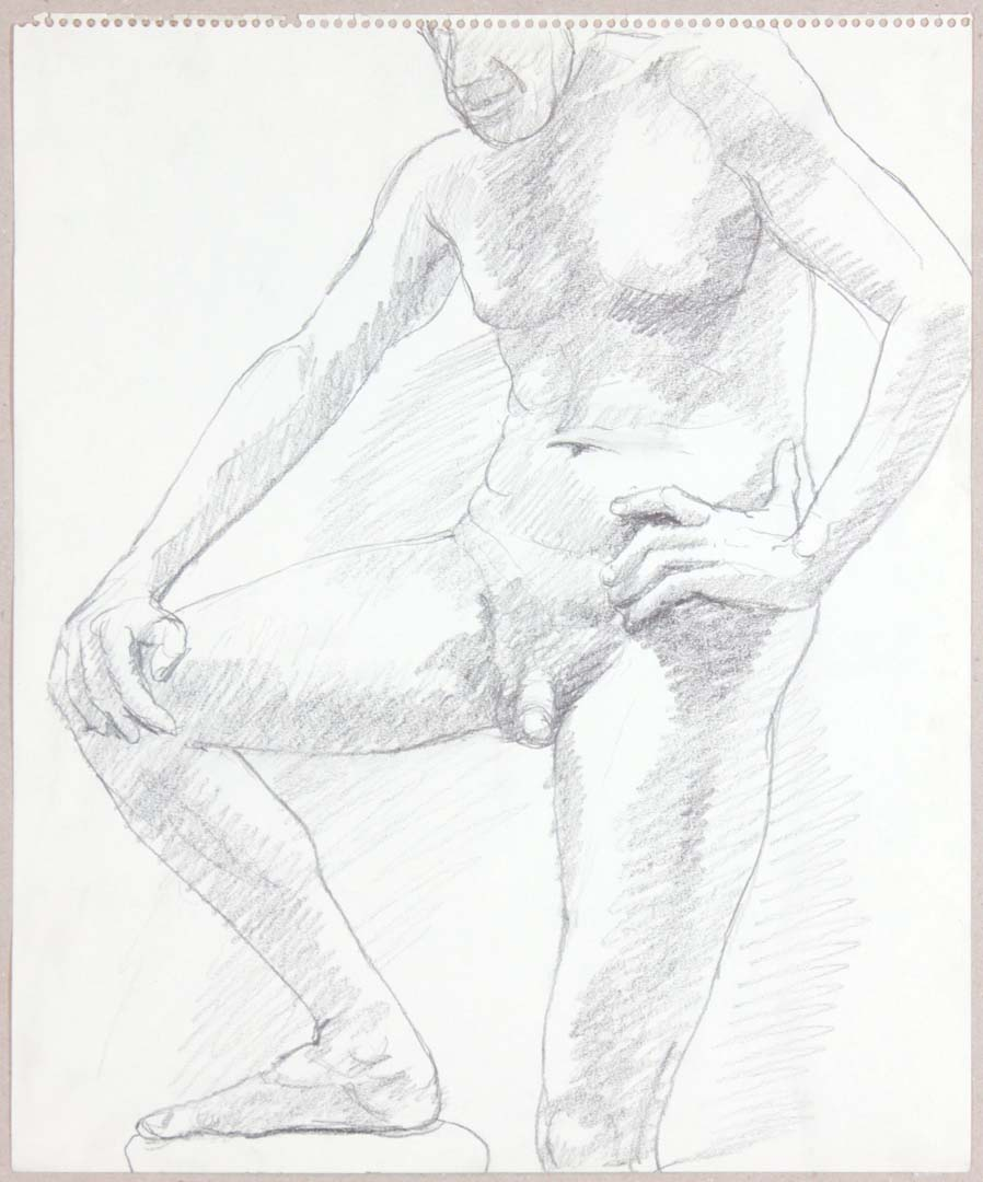 "Standing Male with Foot Resting on Stool Graphite 17"" x 14"""