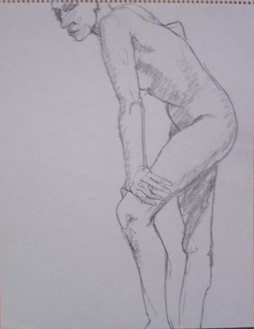 "Standing Model Leaning Forward Pencil 14"" x 11"""